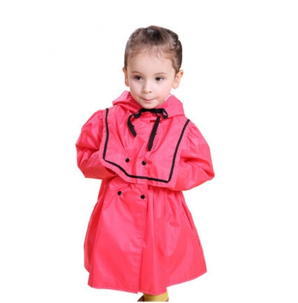 Marca lindo vestido de princesa para niños impermeable de lluvia para niños Niña de poliéster amarillo rojo Ponchos Trench chubasquero