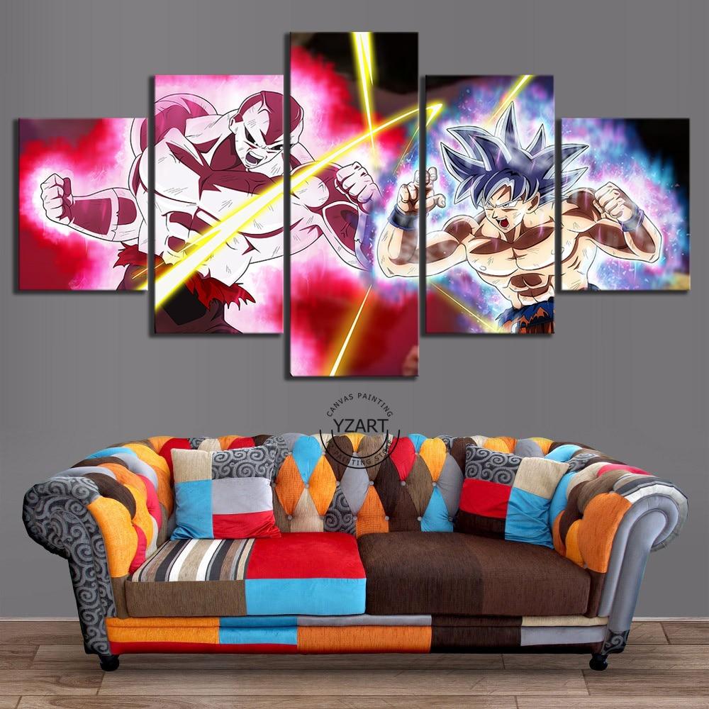 5 piezas Jiren del Ultra instinto Goku Dragon Ball Super Anime Poster de lona pared artística pinturas para decoración para sala de estar