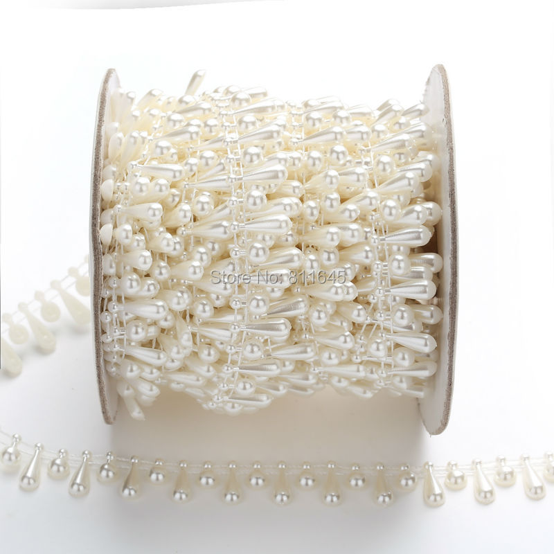 9mm+15mm round with Water droplets design pearl chain Diy For Wedding Party Applique Dresses Crafts ,beads chain 10yards/lot