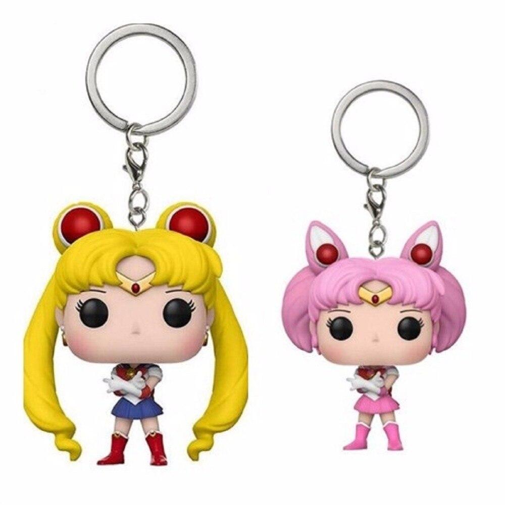 Bonito Sailor Moon & Sailor Chibi Moon figura de acción llavero de bolsillo colección juguetes para niños regalo con caja
