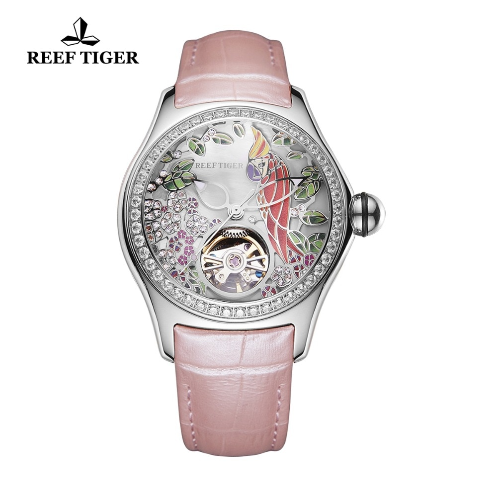 Reef Tiger 2021 Diamonds Fashion Watches Women Steel Genuine Leather Strap Automatic Analog Watches Waterproof RGA7105 enlarge