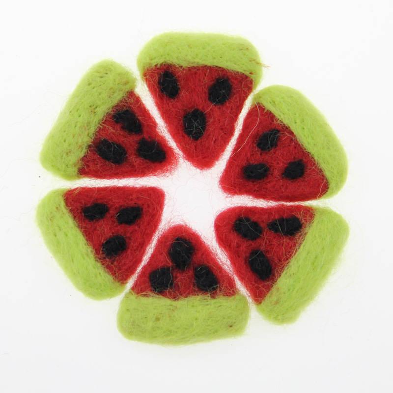 1 ud. De fieltro de lana de sandía con forma de fruta DIY Kit de Poke DIY broche de adorno de árbol de Navidad multiuso banda para el pelo para niños 3,5*3,5 CM