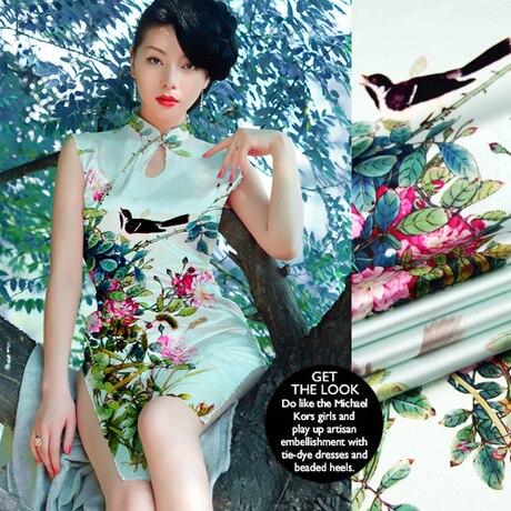 118cm 93% silk & 7% spandex 19mm flower print light green silk satin fabric for dress shirt clothes