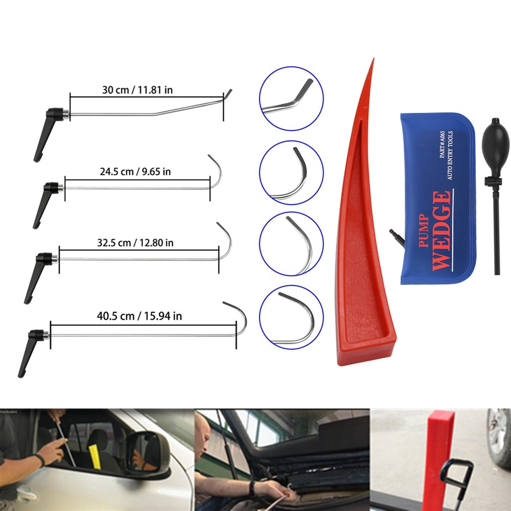 Newly Design  Rods Set of Tools Hook Tool  with pum wedge Push Rod best hook Paintless Dent Repair 4pc newly design rods set of tools hook tool push rod best hook paintless dent repair