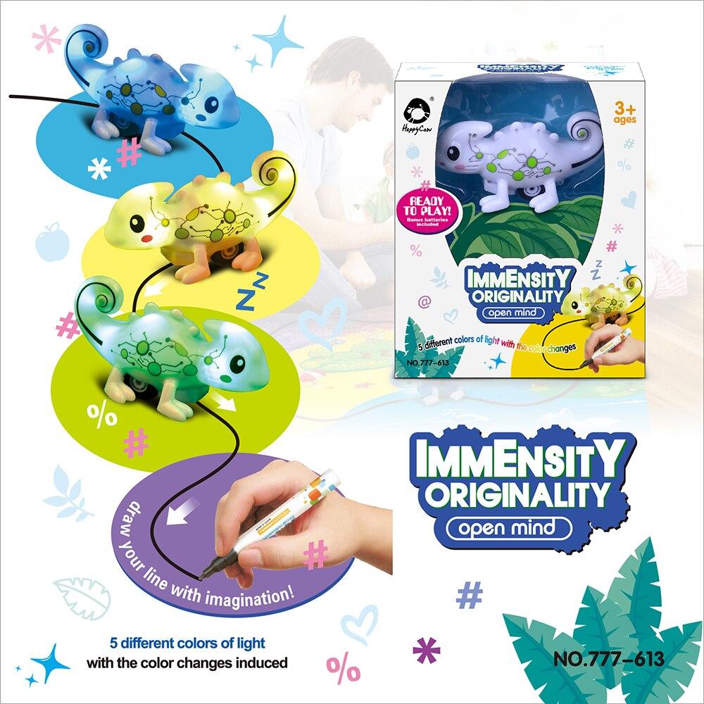 Nuevo Mini juguete mágico, dinosaurios descoloridos, juguete de camaleón de inducción para niños, figura, bolígrafo, líneas de dibujo, carril de inducción, Juguetes