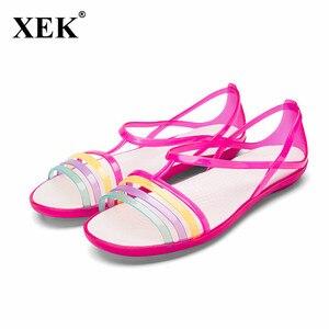 Сандалии-желе женские с открытым носком, радужные пляжные туфли, плоская подошва, карамельные цвета, JDD51, лето