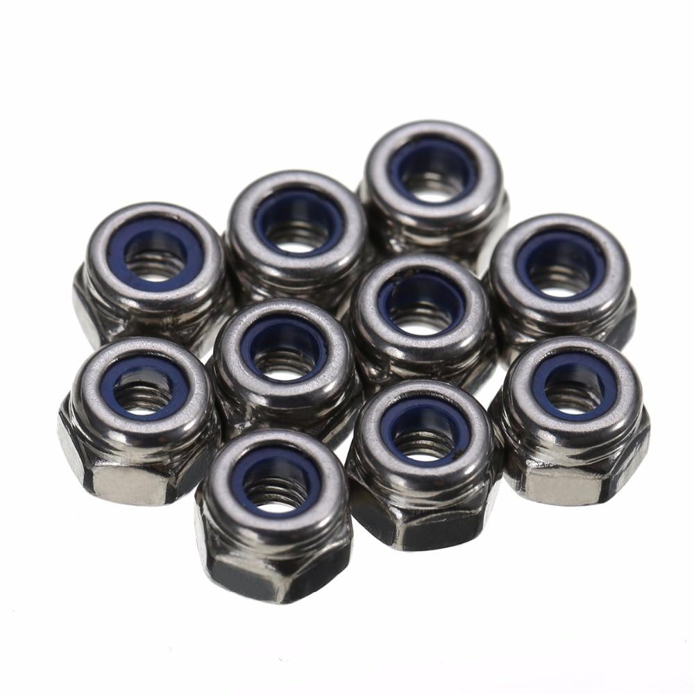 Нейлоновые гайки-замки диаметром 3 мм M3, самозапирающиеся шестигранные гайки из нержавеющей стали для аксессуаров, 100 шт./компл.