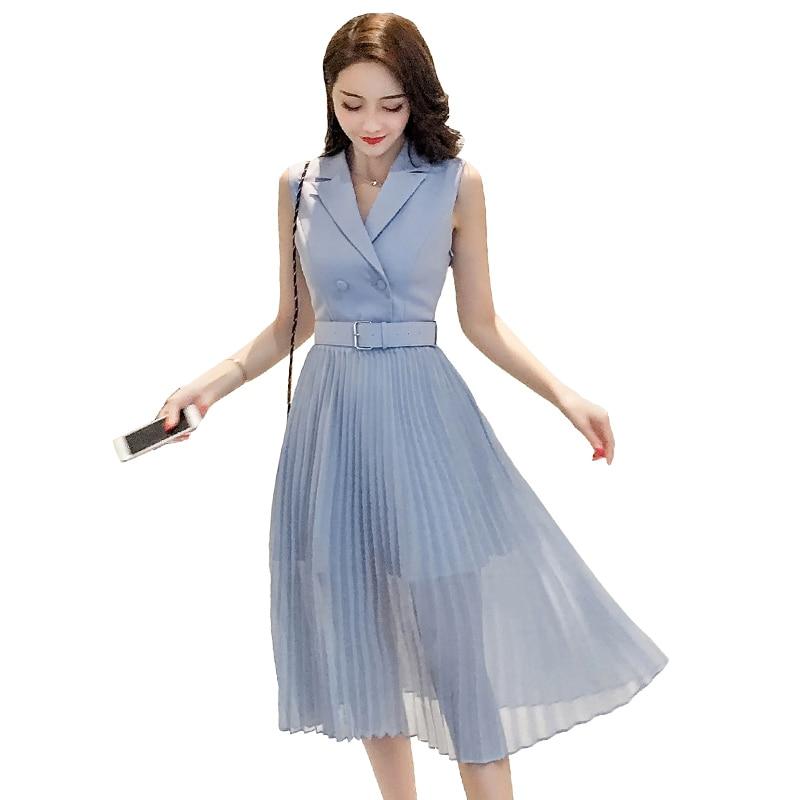 Novedad verano 2020, vestido de mujer OL, sin mangas, de cintura alta, ajustado, de gasa, plisado, elegante, para señora, Midi, hl494