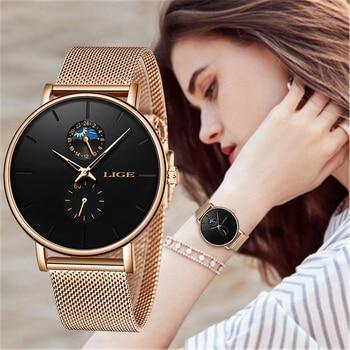 LIGE New Women Luxury Brand Watch Simple Quartz Lady Waterproof Wristwatch Female Fashion Casual Watches