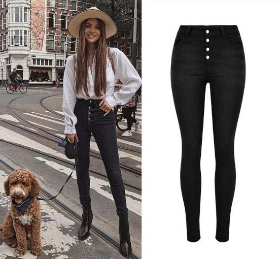 2019 New Women High Waist Jeans Elastic Slim Skinny Denim Pants Single Breasted Pencil Pants Female Stretch Trousers Women D130
