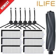 1 * brosse principale + 6 * paire (noir + blanc) filtre HEPA + 6 * brosses latérales pour ILIFE A8 A6 danhui Robot aspirateur pièces ilife a8