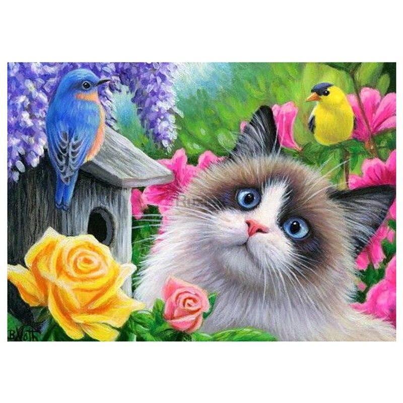 """Full Quadrado/Rodada Broca 5D DIY Pintura Diamante """"gato Dos Desenhos Animados, flor, pássaro """"Diamante Bordado de Strass do Ponto da Cruz de Decoração Para Casa"""