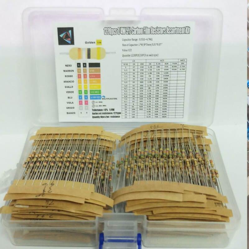 1220 Uds Kit de resistencia de 1/4W 5% W, 0,33 Ohm-4,7 M Ohm 122 valores X 10 Uds Resistencias Paquete de resistencia resistores de película de carbono Set Box