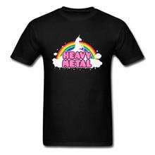 Métal lourd licorne hauts t-shirts arc-en-ciel homme T-shirt femmes T-shirt noir T-shirt Kawaii dessin animé vêtements petit ami cadeau chemises