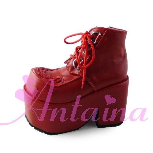 Princesa dulce lolita gótica lolita zapatos Lolita cos punk cuñas mayor zapatos de mujer rojo oscuro an9101
