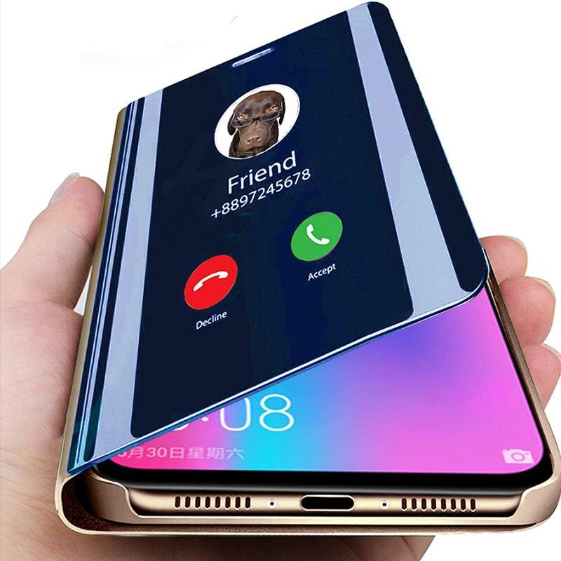 Caso do telefone da aleta inteligente para huawei honor 10 lite 10i 20 pro 8x 8c 8s 9s 9a 9c 9x capa huwei p30 p40 pro lite espelho de luz coque