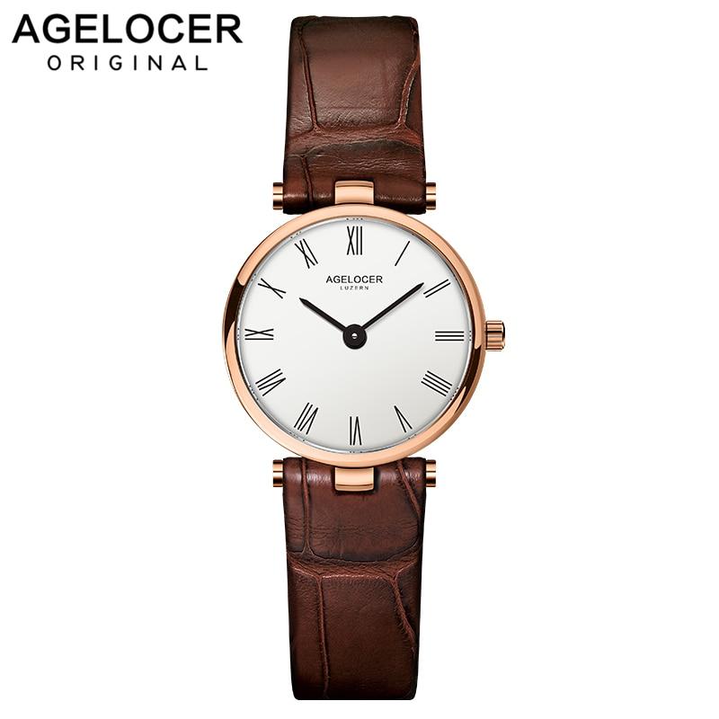 AGELOCER Watch Women Fashion Gold Stainless Steel Ladies Watches Leather Quartz Watch Relogio Feminino Clock Relojes Mujer 2019