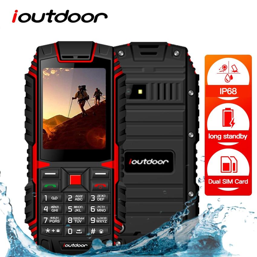 XGODY ioutdoor T1 2G Feature Phone IP68 Shockproof cep telefonu 2.4''128M+32M GSM 2MP Back Camera FM