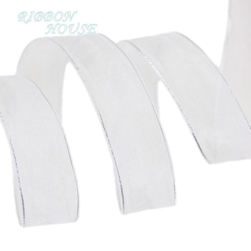 (50 yardas/rollo), 25mm, blanco, plateado, borde cinta de organza, venta al por mayor, cintas decorativas para envolver regalos