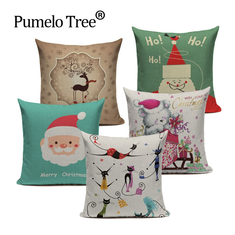 "Fundas de cojín personalizables con citas de ""you Are happy Sea Green"" para decoración navideña de gato de dibujos animados"