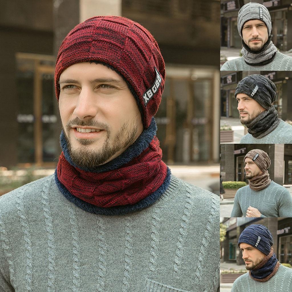 Winter Men Knitted Hat Headgear Bib suit Caps Plus Velvet Thick Wool Hat Autumn And Winter Knit Hat czapka zimowa sombrero mujer
