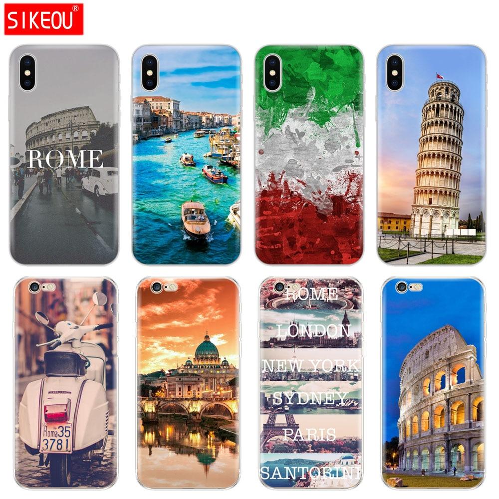 Силиконовый чехол для Iphone 6X8 7 6s 5 5S SE Plus 10 XR XS Max чехол Италия Рим pisa tower
