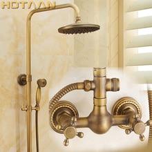 "Luxury NEW Bathroom Surface Mount Brass Rainfall Shower Faucet Set Antique Brass with Handshower + Tub Spout + 8"" shower head"