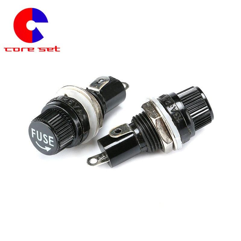 10 unids/lote 5x20mm portafusibles de vidrio montaje negro casquillo de tubo de seguridad 5*20MM portafusibles