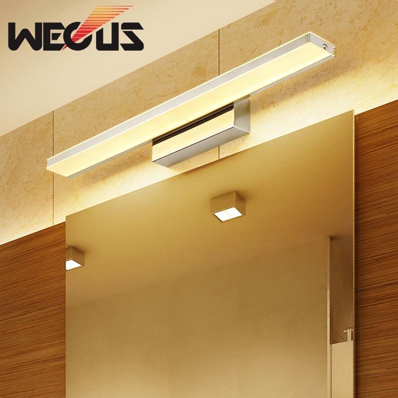 Aplique moderno de cromo para espejo, aplique para pared de baño, aplique led para espejo de maquillaje, iluminación para armario de 42 cm/52 cm 9 W/12 W 110V 220V