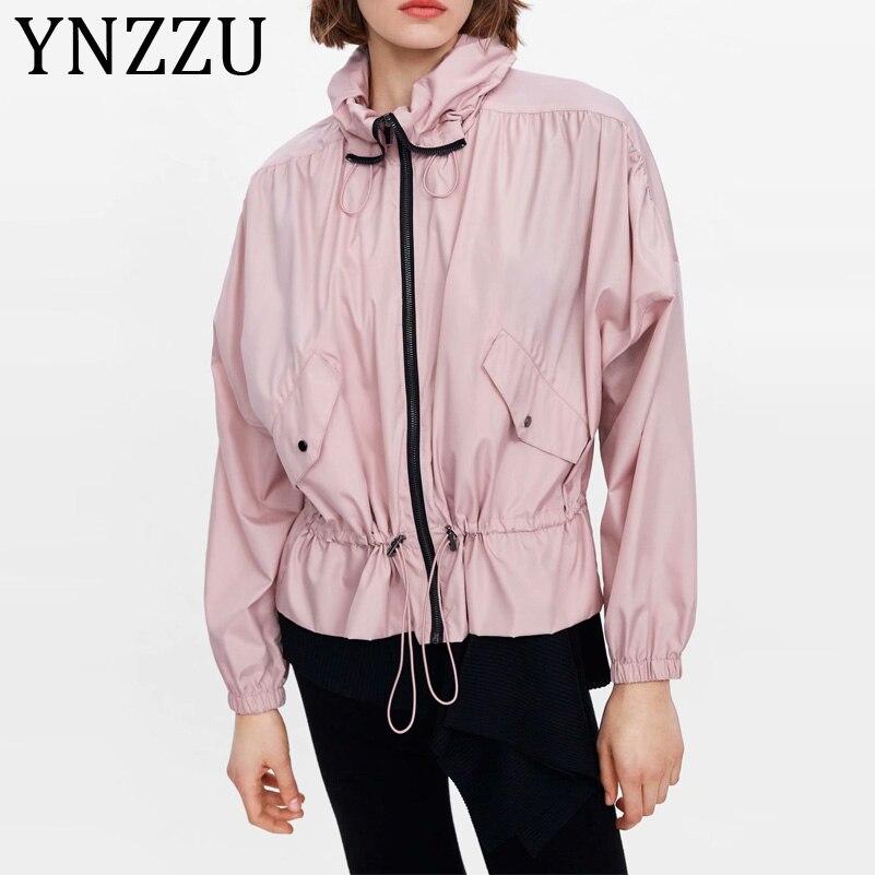 YNZZU, chaqueta informal de color rosa liso para mujer, ropa deportiva, novedad de 2019, elegante chaqueta holgada de manga larga con capucha y protección solar para mujer, ropa de abrigo AO980