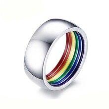 EAMIOR mode Style individuel LGBT arc-en-ciel hommes gay pur blanc en acier inoxydable anneau européen américain vacances cadeau bijoux