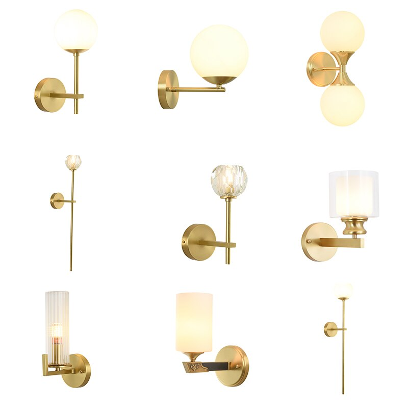 Lámpara de pared moderna de cobre lleno envío gratis candelabro de lujo de cristal dorado Lámparas De Pared Modernas