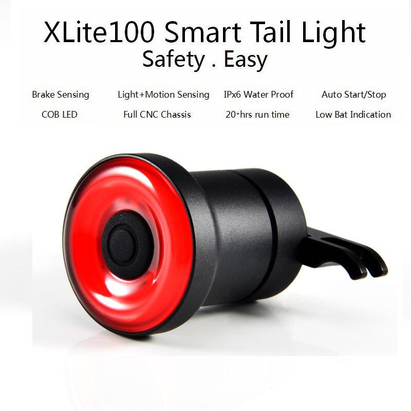 XLITE100 LED Bike Flashlight For Bicycle Auto Start/Stop Brake Sensing IPx6 Waterproof USB Smart Tail Light For Bicycle Saddle
