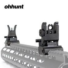 Ohhunt tactique avant arrière vue ensemble pliant conception double ouvertures en polymère vues ajustement Picatinny Rails pour M4 M16 AR15 fusil