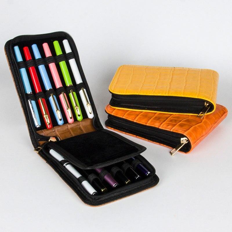 Металлический корпус для перьевой ручки, Ручка-роллер оранжевого цвета из искусственной кожи, вместительный футляр для ручек, 12 шт., роскошный подарок, сумка для карандашей