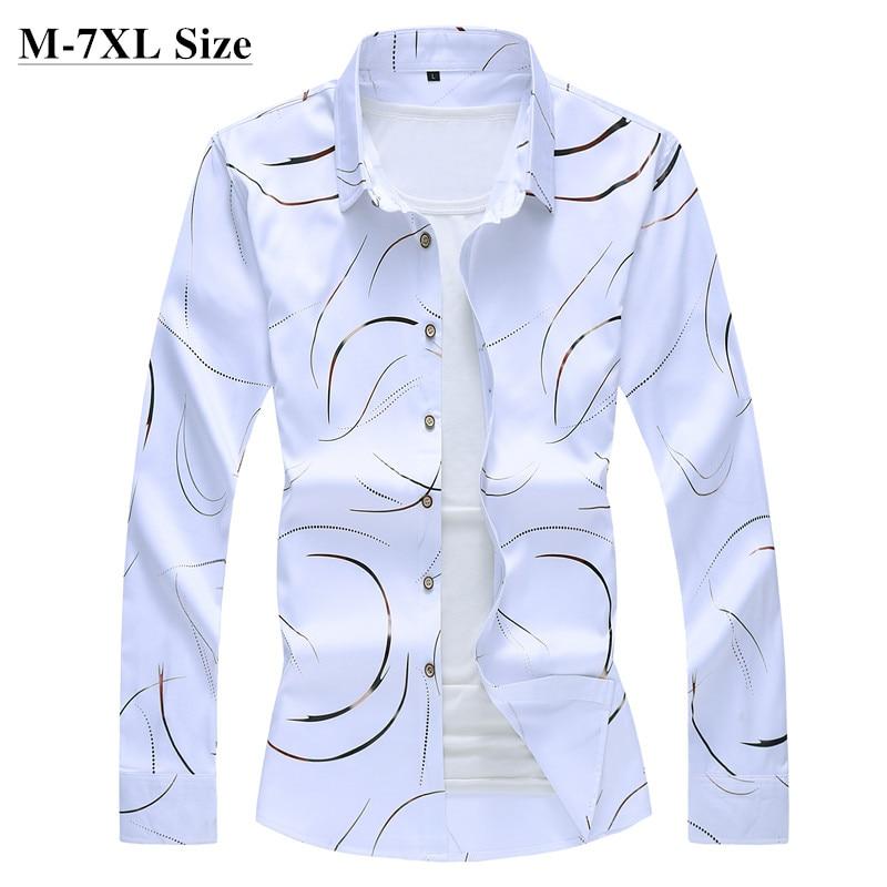 2020 Autumn New Men's Printed Shirt Fashion Casual White Long Sleeve Shirt Male Brand Clothes Plus Size 5XL 6XL 7XL