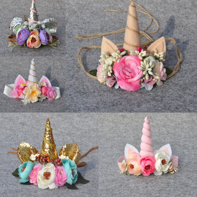 Unicorn Headband Newborn Photography Tie Back Lovely Bunny Ear Headwear For Party Toddler Baby Hair Accessories Girls Headband