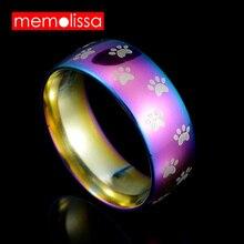 MeMolissa bijoux mode mignon chien chat patte anneaux en acier inoxydable bande de mariage arc-en-ciel Anime Pet anneau largeur 8mm pour cadeau