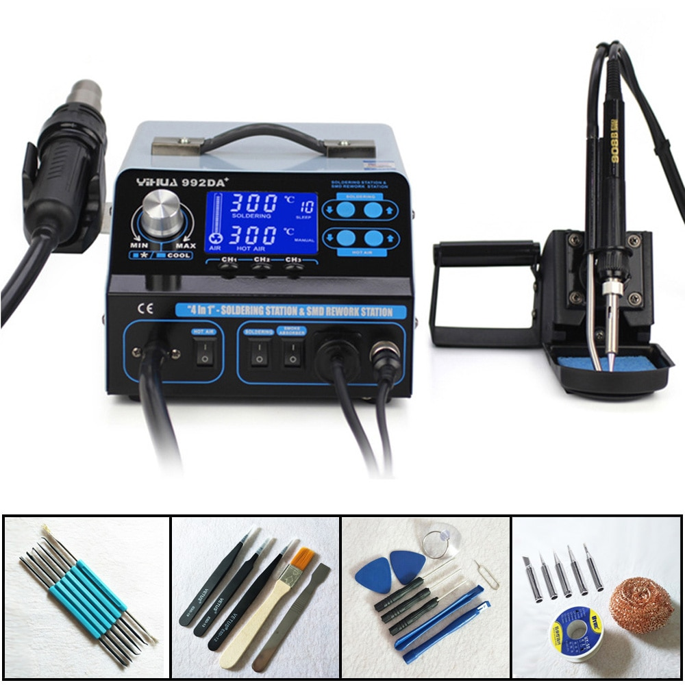 YIHUA 992DA+ 4 In 1 Smart Smoking LCD Digital Display Hot Air Soldering Station Smoke Vacuum BGA Soldering Rework Station