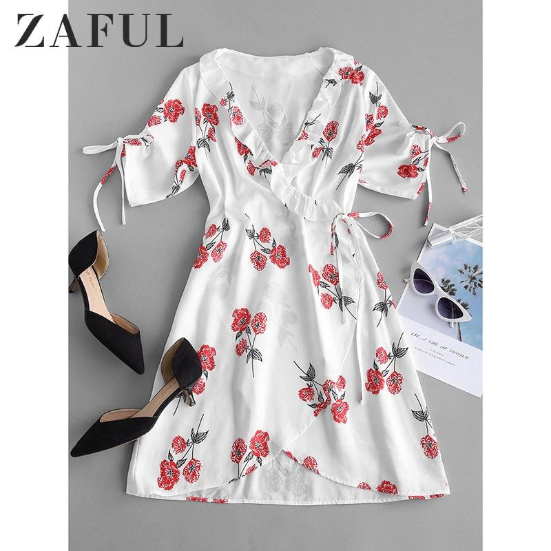 ZAFUL-vestido estampado Floral para mujer, vestido playero con tirantes finos y hombros descubiertos 2019
