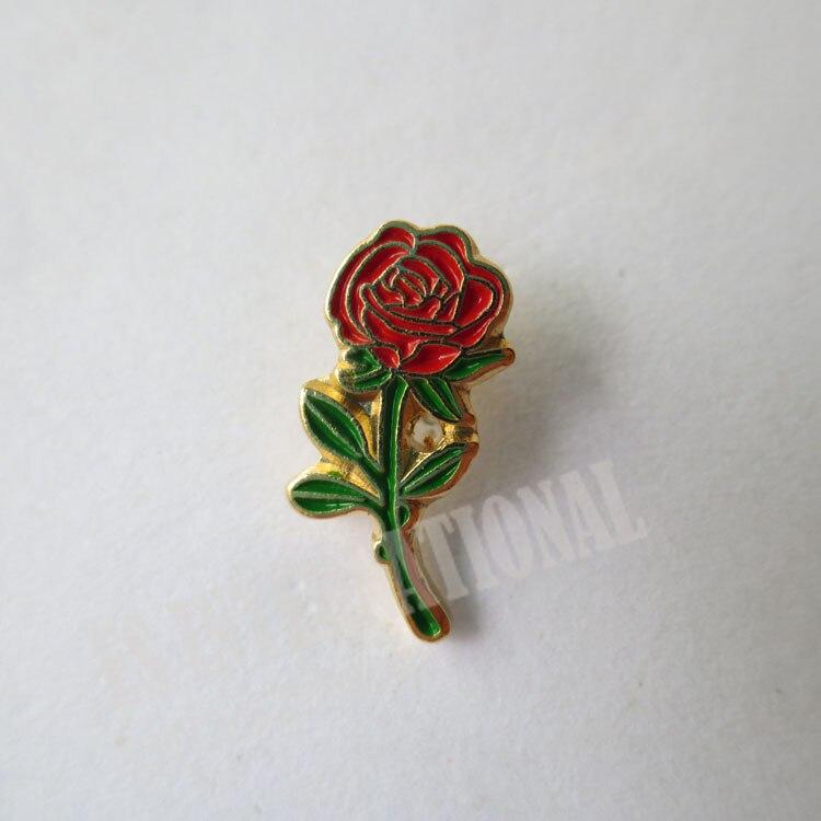 wholesale Masonic Lapel Pins Badge Mason Freemason LPM061 rose Flower 0.6*1.4cm