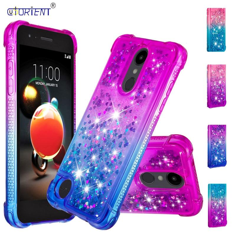 For LG Fortune 2 Zone 4 Risio 3 Glitter Liquid Case Aristo 2 Plus K8 2018 Silicone TPU Phone Cover LG Zone4 Risio3 Aristo2 Funda