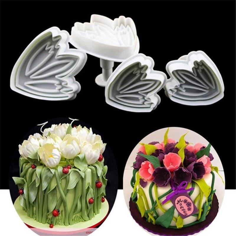 4 unids/set tulipán flor pétalo moldeado fondant torta molde émbolos para cortar galletas decoración DIY molde