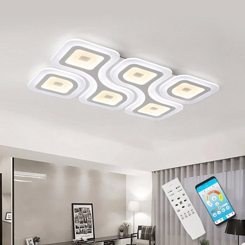Квадратные современные светодиодные потолочные лампы, приспособление для гостиной, спальни, домашнего освещения, декор для ресторана, ...