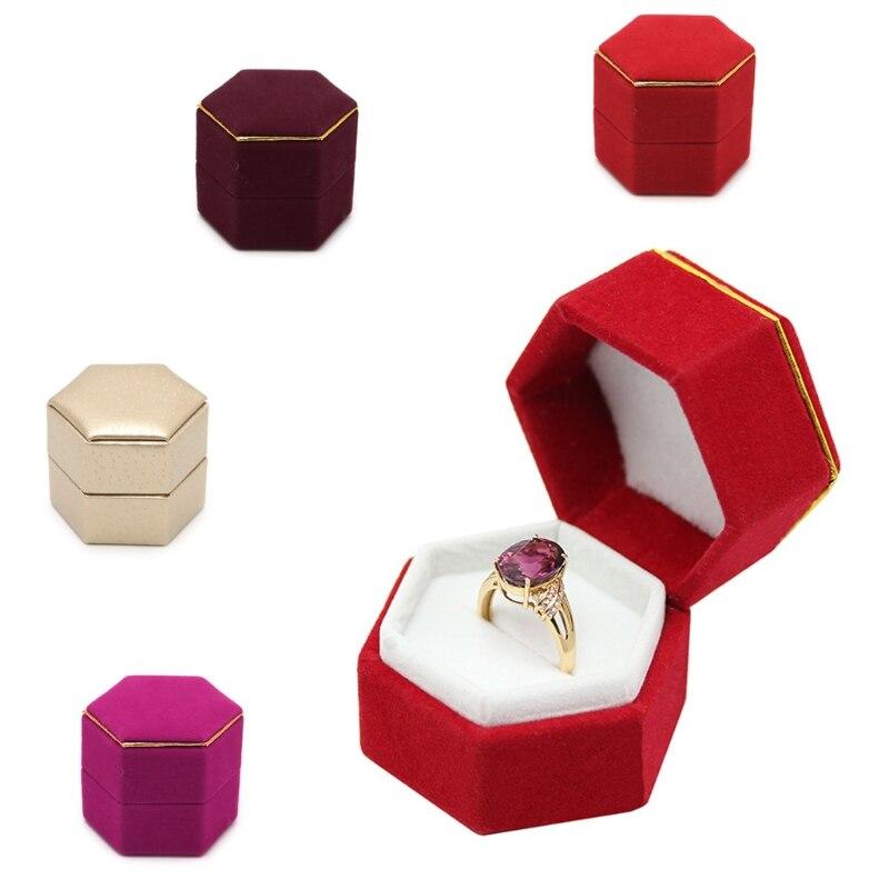 Caja del anillo de dedo Hexagonal de compromiso caliente 2020 soporte de exhibición de Joyas caja de almacenamiento de anillo de terciopelo caja de San Valentín organizador de regalos