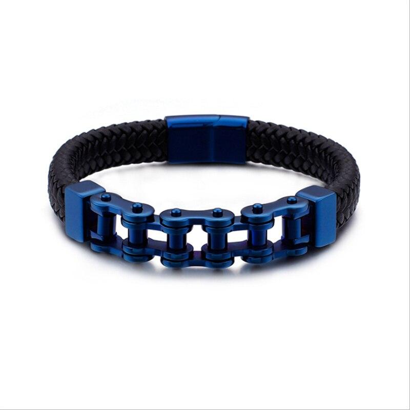 Pulsera de cadena de motocicleta para motociclista para hombres, brazalete de cuero genuino trenzado de acero y titanio, pulsera de joyería para hombres, Pulseras de Moda