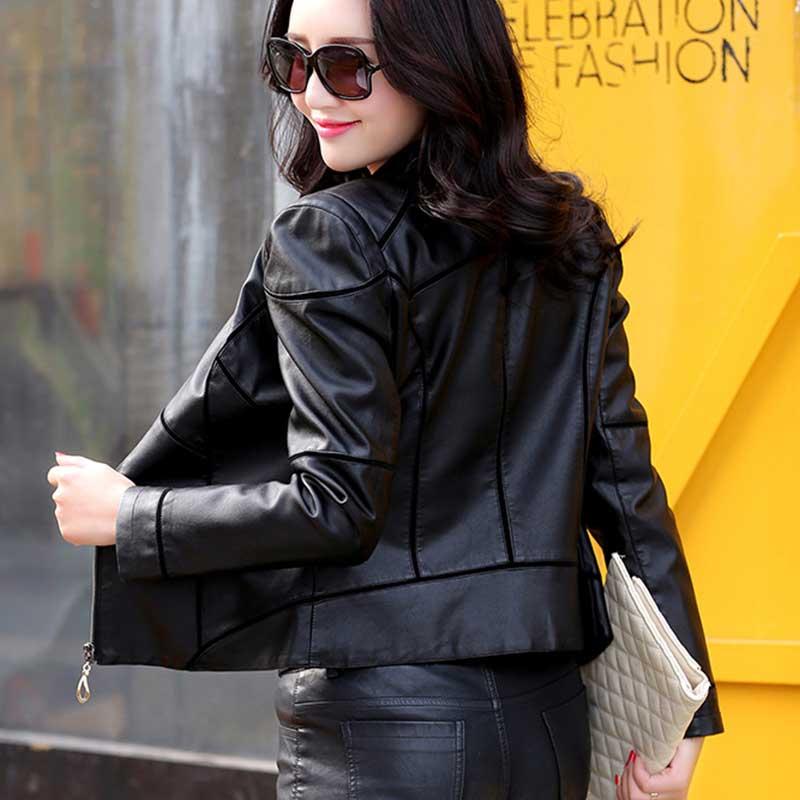 Jaqueta de couro feminina Fashion Autumn Women Leather Jacket 2018 new Parka Locomotive Short PU Leather Jacket Coat WZ792 enlarge