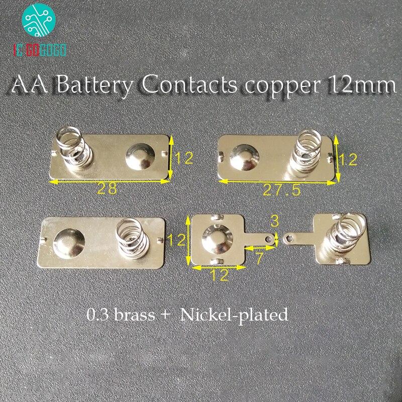 5 pares de contactos de batería AA resorte contacto Placa de banda 12*12/27. 5/28MM conector de batería de latón electrodo positivo negativo cobre