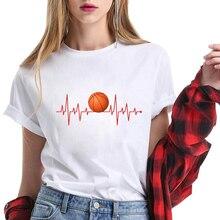 Basketball Pulse T Shirt Korean Fashion Clothing Tee Shirt Female T-shirt Harajuku Kawaii White Tshirt Women Plus Size Clothes