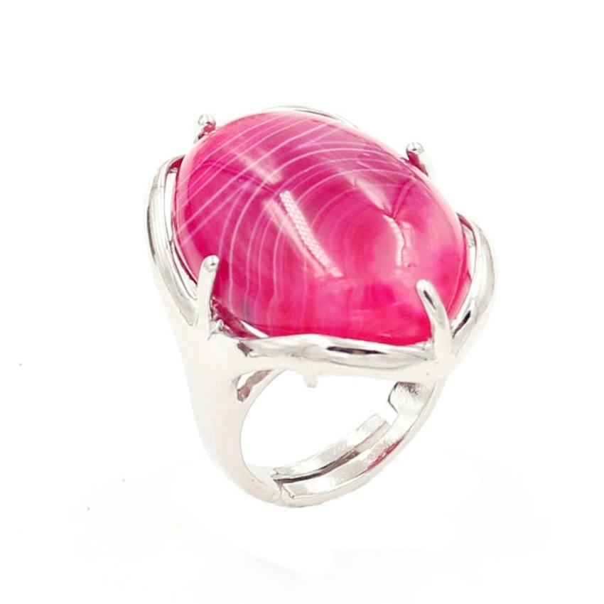 FYJS único aniversario regalo con enchapado de plata forma ovalada anillo ajustable raya Rosa ágatas Rojas joyería